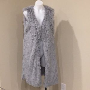 NWT grey long faux fur vest jacket